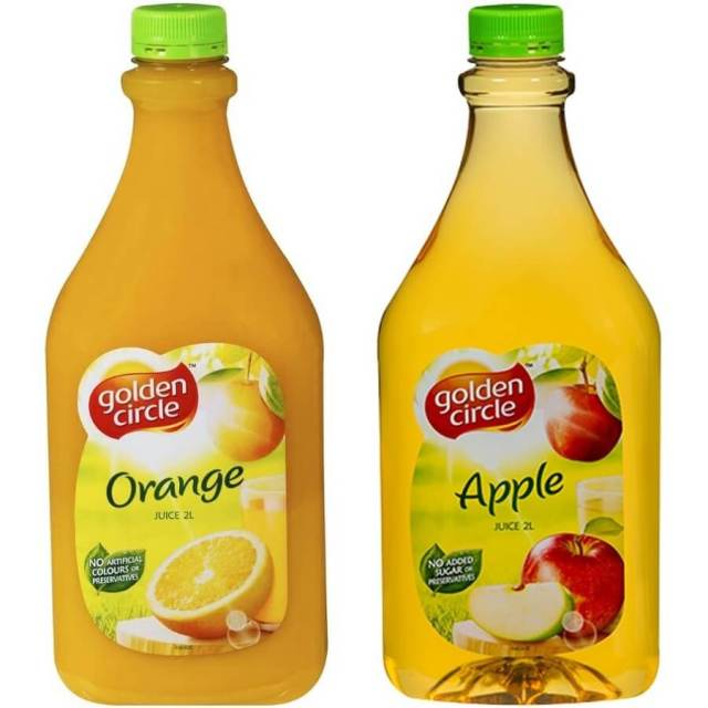 Fruit Juices - Orange, Apple (2 litres) $7.00 per bottle. Plastic cups also provided.