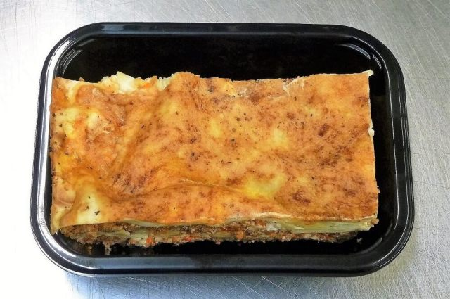 Beef Lasagne ready-meal in packaging tray