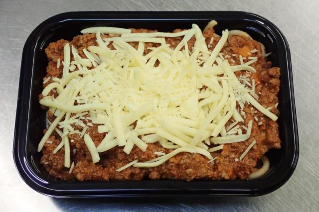 Pasta Bolognaise ready-meal in packaging tray