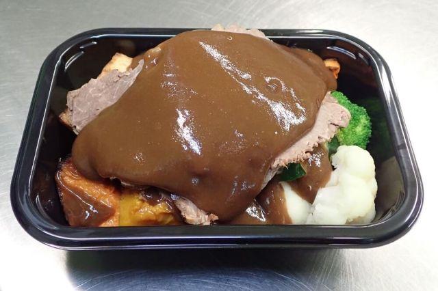 Roast Beef ready-meal in packaging tray