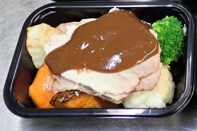 Roast Pork ready-meal in packaging tray