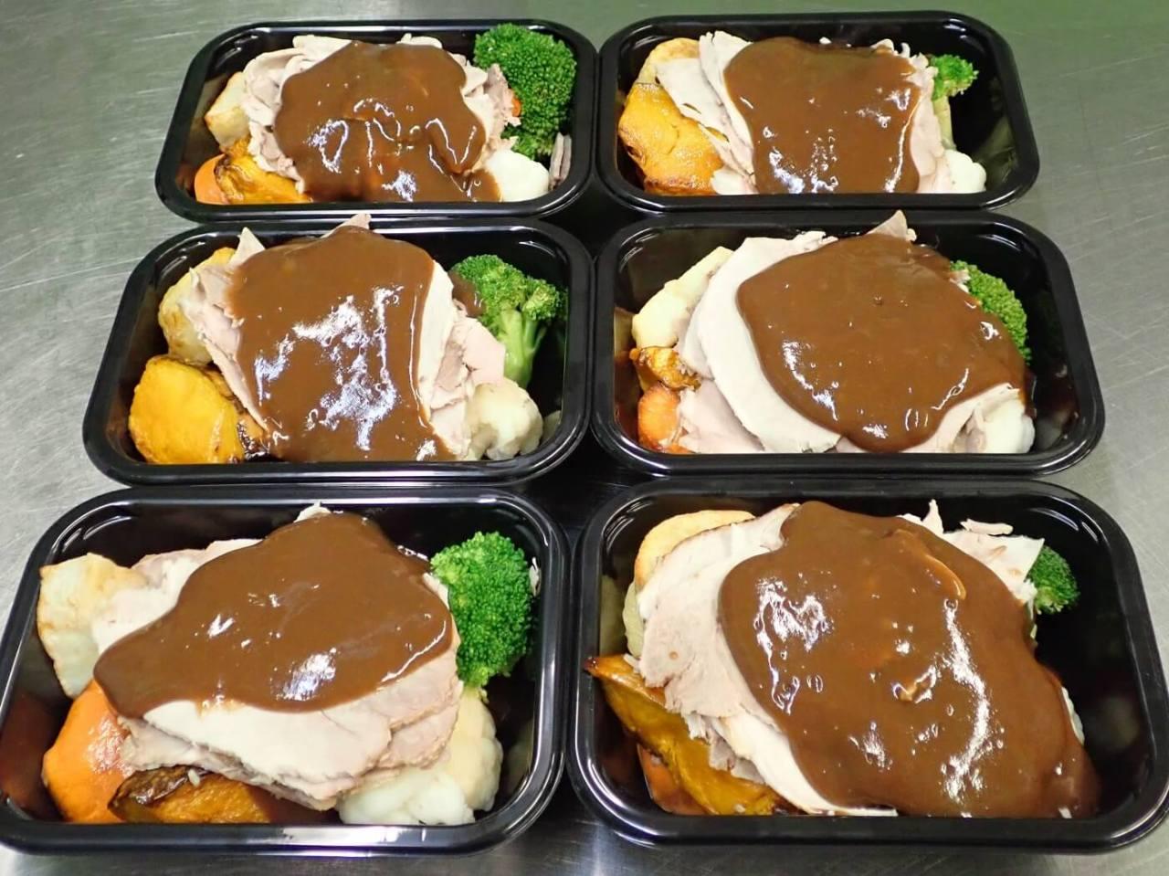Six Roast Pork ready-meals in packaging trays