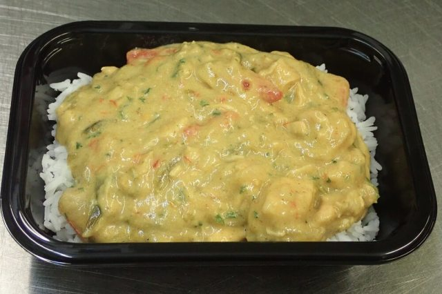 Thai Green Chicken Curry ready-meal in packaging tray